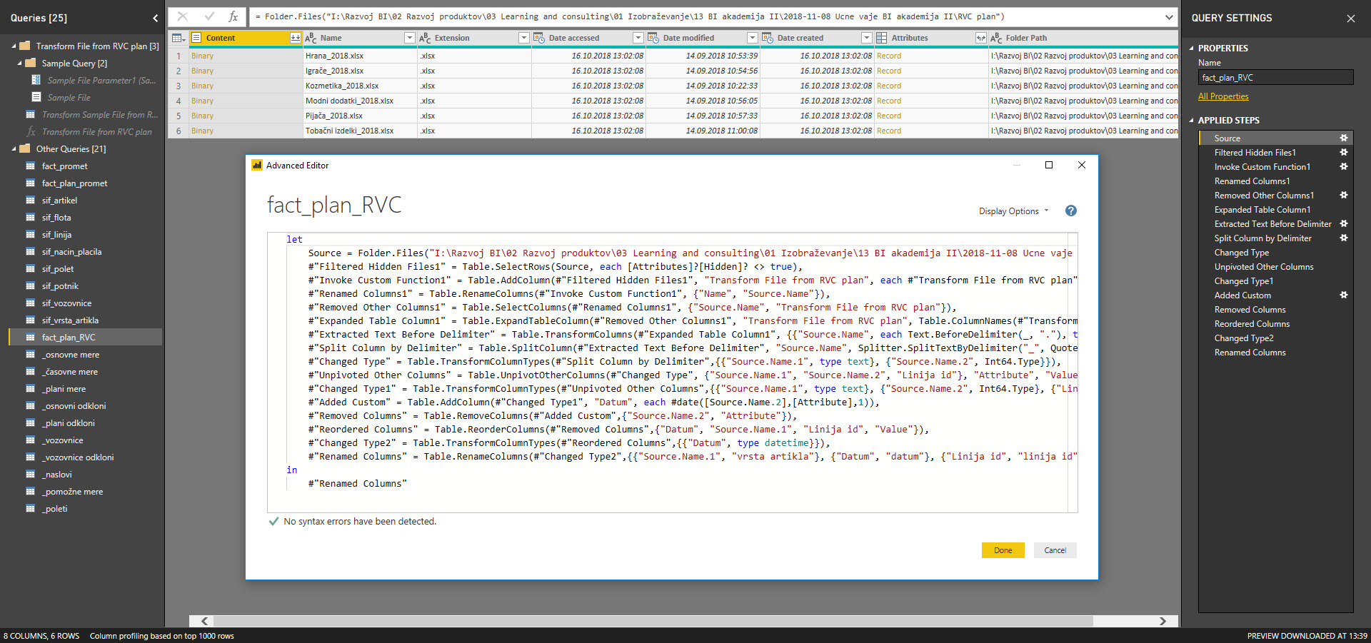 Power BI, DAX, in Power Query